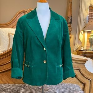 Talbots Horsebit Emerald Corduroy Blazer Size 20W